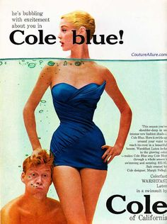 Couture Allure Vintage Fashion: Cole of California Swimsuit - 1955. I like the draping and the jaunty wing. It's a great ad.