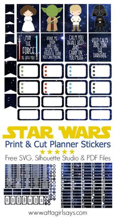 Free Star Wars themed printable planner stickers for your ...