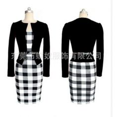 Buy Women Autumn Elegant Belted Tartan Patchwork Faux Tow Pcs Tunic Work Business Casual Party Bodycon Pencil Midi Office Dress at Wish - Shopping Made Fun Office Dresses, Dresses For Work, Cocktail Rouge, Vestidos Retro, Suits For Women, Clothes For Women, New Party Dress, Party Dresses, Autumn Clothes