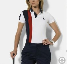 Ralph Lauren Pony Women Short Sleeved Polo Red/Black/White www. Polo Shirt Women, Polo T Shirts, T Shirts For Women, Clothes For Women, Dress Shirts, Preppy Dresses, Preppy Outfits, Sport Outfits, Camisa Polo