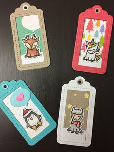 Shanni's Lawn Fawn Christmas tags! Christmas Name Tags, Christmas Colors, Christmas Crafts, Xmas, Handmade Tags, Greeting Cards Handmade, Tiny Tags, Fawn Colour, Lawn Fawn Stamps