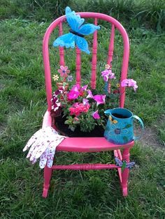 One of the chair planter that I made for Mothers Day