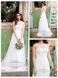 LUXURY ILLUSION NECKLINE LACE BODICE WEDDING DRESS