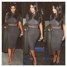 """Last nights look- Kardashian Kollection grey top and skirt, Lanvin coat, Saint Laurent pumps. Glam @joycebonelli @jenatkinhair"""