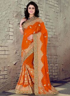 Yellow Embroidered Work Georgette Classic Designer Saree