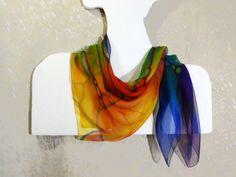 Rainbow chiffon silk scarf Hand-painted square by WhisperOfSilk
