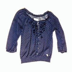 Ambercrombie polka dot blouse Navy blue with white polka dots - only lightly worn and with embellishments on the chest area Abercrombie & Fitch Tops Blouses