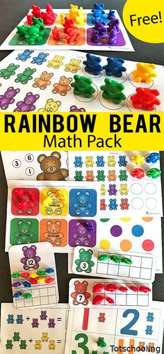 FREE printable math pack for preschool and kindergarten to be used with the set of rainbow counting bears Kids will practice counting colors number recognition ten frames. Preschool Colors, Free Preschool, Preschool Printables, Preschool Lessons, Preschool Learning, Kindergarten Math, Teaching Math, Math Activities, Preschool Activities