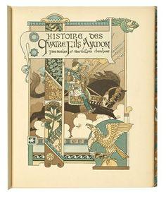 FRANCE (Swiss): Eugéne Grasset, title page for Histoire des quatre fils Aymon (Tale of the four sons of Aymon), 1883