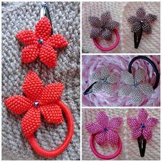 Flores para enfeitar os cabelos, confeccionadas em brick stitch.