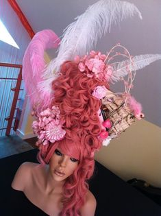 MADE TO ORDER Marie Antoinette Style Headdress Wig halloween rocco victorian pink barbie burlesque princess queen. 699.00, via Etsy.