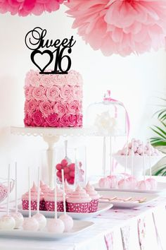 Sweet Sixteen 16 Cake Topper with Heart View by SpectacularDesign