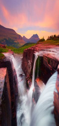 Triple Falls - Glacier National Park, Logans Pass Sunset by Kevin McNeal