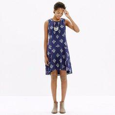 Nwot! Madewell Navy Floral Print A-Line Dress