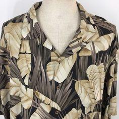 Hilo Hattie Hawaiian Mens Shirt Silk 2XL Aloha Palm Fronds Button Loop Collar #HiloHattie #Hawaiian