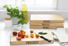 Do-it-yourself cutting boards, canisters, and more.