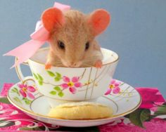 Needle Felted Curious Mouse Tea Cup Sugar Cookie by Artist Robin Joy Andreae