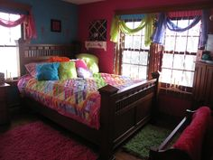 Funny Pink and Blue Themes Teen Room Decorations with Elegant Brown Wood Bed Frame that have Colorful Pattern Bedding complete with the Soft Feather Pillows and Minimalist White Wood Wall Mounted Shelf