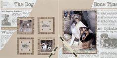 """Bone Times"" 8.5x8.5 Dogs Scrapbook Layout created by Jill E. Kulchinsky"