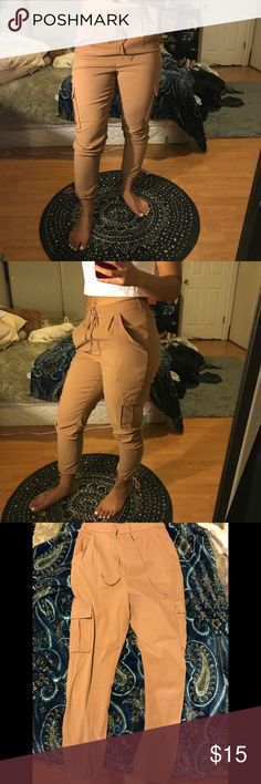 Nude stylish polyester joggers Perfect condition. Can be dressed up or dressed down! Missguided Pants Track Pants & Joggers