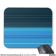 Abstract horizontal linework, deep and light blue mouse pad