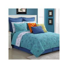 Fiesta Martika Reversible Quilt Set, Blue