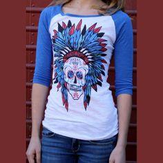 Sweet Sugar Skull Baseball T Shirt - Original Cowgirl Clothing Co sold at Sassy Cactus!