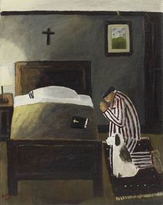 """""""Our Father Who art in Heaven, when I come the Thee, do you think it would be possible to bring my dog with me?"""" - Gary Bunt, oil/canvas"""