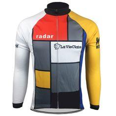 ec2d29a3a La Vie Claire Men s Long Sleeve Retro Cycling Jersey