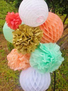 Coral, peach, mint, gold paper lanterns, honeycomb balls, tissue pom poms hanging decor