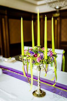 Asztal dekoráció, zöld-lila,  #eskuvo, #dekor, #lila, #zold
