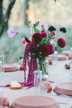 Pantone 2015 Color of the Year :: Marsala Burgandy Cranberry :: Centerpiece :: table decoration #stashrentals  #vintagerentals  #vintagewedding