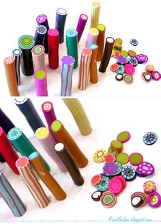 DIY Tutorial - Kaleidoscope cane from leftover polymer clay canes from Ronit Golan. Thank you!