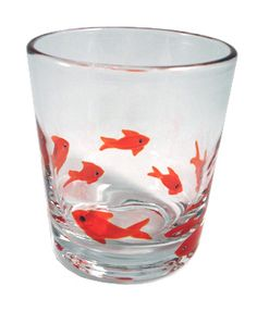 black ink goldfish glass $13