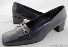 Womens shoes SRO Navy Blue LEATHER Classic Pumps Heels square heel & toe sz 8 M #PumpsClassics