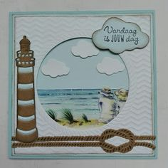 Made by Nicolette: A day at the beach Marianne Design Cards, Nautical Cards, Beach Cards, Boy Cards, Sea Theme, Heartfelt Creations, Scrapbook Cards, Scrapbooking, Masculine Cards
