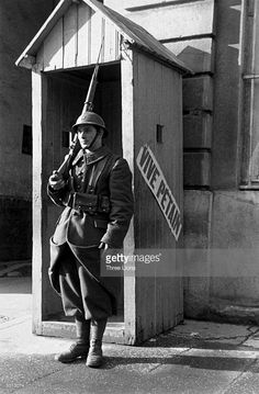A French soldier on sentry duty.