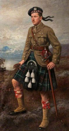 Captain Allan Ogg, JD (1938–1943), 1923, by John McGhie (1867-1952). Alan 'wha's yer troosers?' Fine example of a sporran - the tassels will most likely have been made from Badger hair .