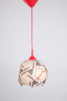 Lustiges Upcycling Objekt: Lampe aus altem Fußball, tolles Geschenk für Fußball Fans und Spieler / unique upcycling project: soccer lamp, perfect gift for soccer lovers and player via DaWanda.com