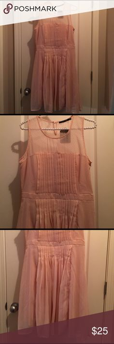 Doe & Rae beautiful peach dot dress ~ size L ~new Doe & Rae Fit and Flare Dress ~ Peach Dot Dress ~ size L ~ New ~ measurements: bust right over 18 inches (no stretch ) , waist 15.5 inches, length 39 inches.  Very beautiful dress.  Looks old fashioned.  Thank you for stopping by my closet. 😊🎀 Doe & Rae Dresses