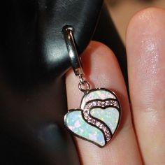 fire opal Cz earrings gemstone silver jewelry elegant cocktail Heart drop stud  #Unbranded