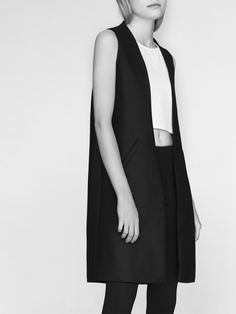 NON AW14/15 waistcoat 100% finest merino wool fabric, black, model Malwina Garstka Modelplus Photographed by Kasia Bielska thisisnon.com