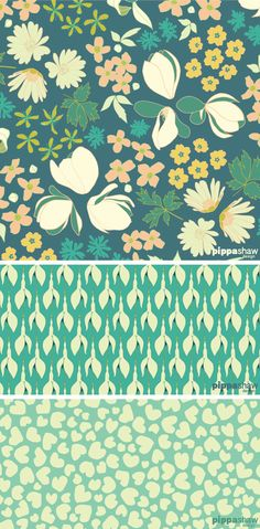 Pippa Shaw Design - Cuckoo pattern collection pippashaw.com repeat pattern, textile design, surface pattern design, floral