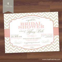 Bridal Shower Invitation  Modern Chevron & by AFineTimeInvitations, $17.99