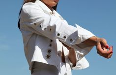 GIANFRANCO FERRE white jeans denim jacket.size m