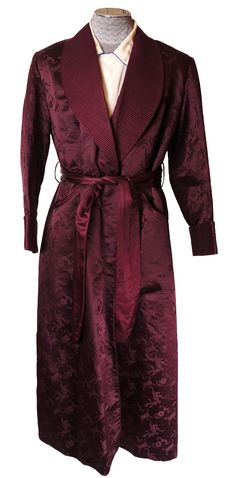 Vintage 1940s Mens Silk Dressing Gown Tailor Made in Hong Kong Size M