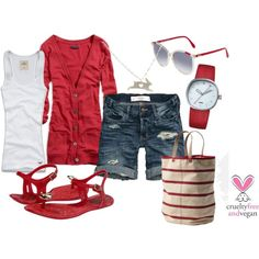 I would wear jeans for casual days.  White tank + red boyfriend cardi + cutoff jean shorts + red sandals