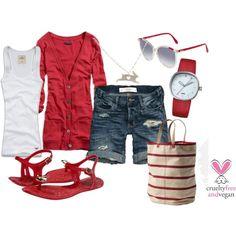 White tank + red boyfriend cardi + cutoff jean shorts + red sandals