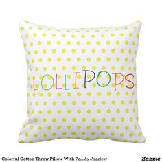 Colorful Cotton Throw Pillow With Polka Dots