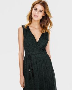 DAMES LEOPARD MAXI DRESS Donkergroen - WE fashion. €35,00